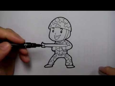 สอนวาดรูป การ์ตูน ทหารถือปืน