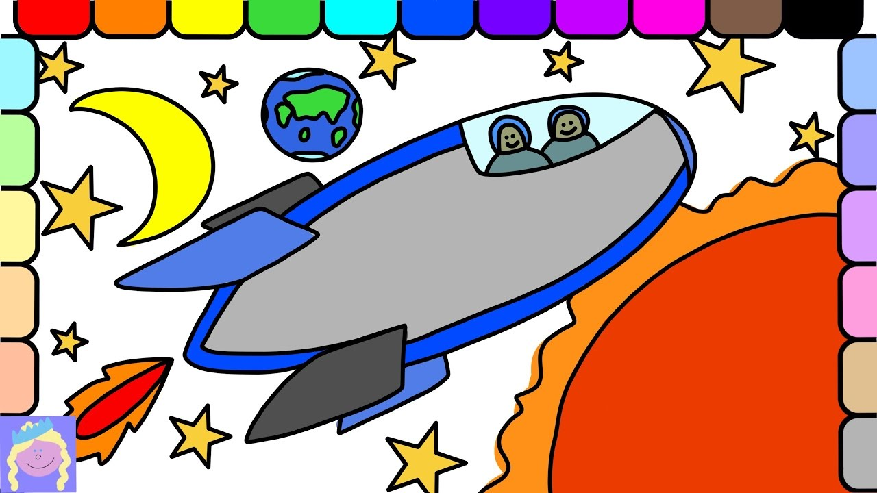 Learn How To Draw And Color A Rocket Ship With This Easy