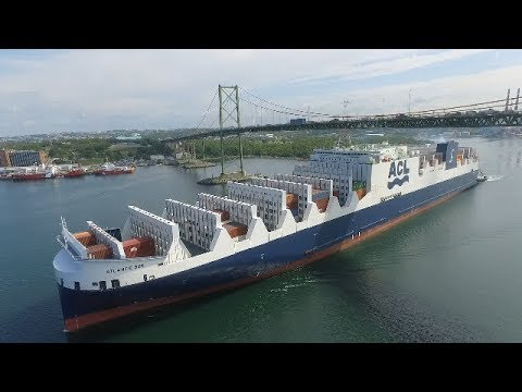 Awesome Aerial View - CONRO Vessel ATLNATIC SUN Inbound into Halifax, NS - MacKay Bridge