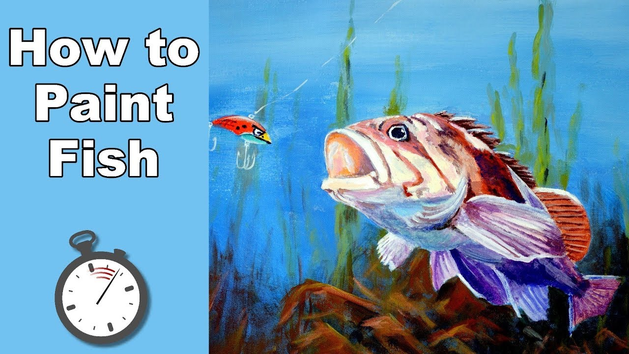How to paint a fish in acrylic time lapse youtube for How to paint a fish