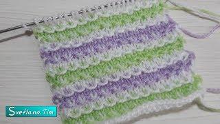 Трехцветный узор из снятых петель. Ленивый жаккард. Вязание спицами # 575