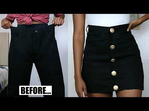 DIY Button Up Denim Skirt | Jeans Transformation