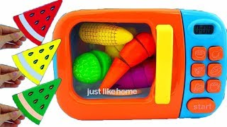 Learn Colors for Children Wooden toys Fruit Cutting Microwave
