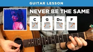 "Video 🎸 ""Never Be The Same"" easy guitar lesson w/ chords (Camila Cabello) download MP3, 3GP, MP4, WEBM, AVI, FLV Mei 2018"