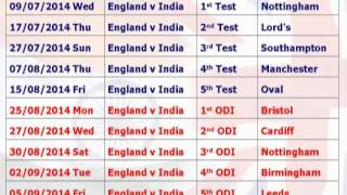 India tour of England July 2014 full schedule and time table