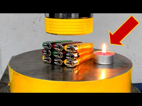 EXPERIMENT HYDRAULIC PRESS 100 TON vs 9 LIGHTERS