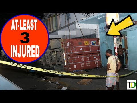 Container  OVERTURNS in downtown KINGSTON - Teach Dem