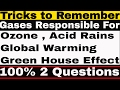 Tricks to Remember Gases Responsible for Ozone | Global Warming | Acid Rains | Green House Effect