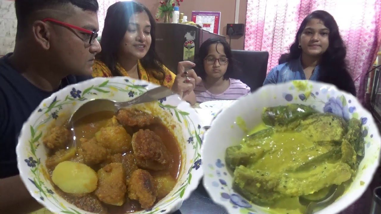 Eating Rice without Mutton/Fish/Egg ( Husband Wife & Daughters ) - Wish You All Happy Mahalaya