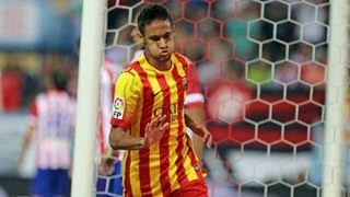 Neymar's first official goal for FC Barcelona vs Atletico Madrid HQ ( Atletico Madrid)
