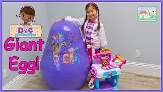Giant Doc McStuffins Toys Egg Surprise Opening w/ Peppa Pig & Care Cart!