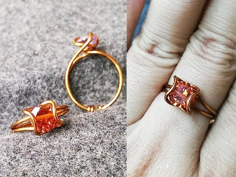 How to make easy prong ring with facet stone - Wire Wrapping