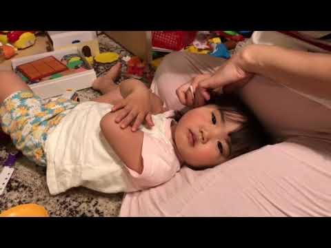 Sleepy Cute Little Japanese Girl enjoys Ear Cleaning