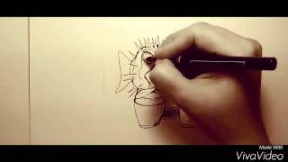 Pufferfish Plays the Bongos:#7 Time Lapse Sketch