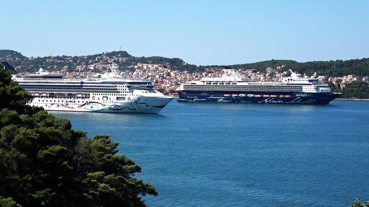 Norwegian Star And Mein Schiff 2 In Argostoli Kefalonia Greece