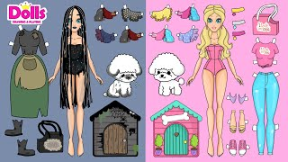 PAPER DOLLS DOG HOUSE & LITTLE PUPPY CARE DRESS UP