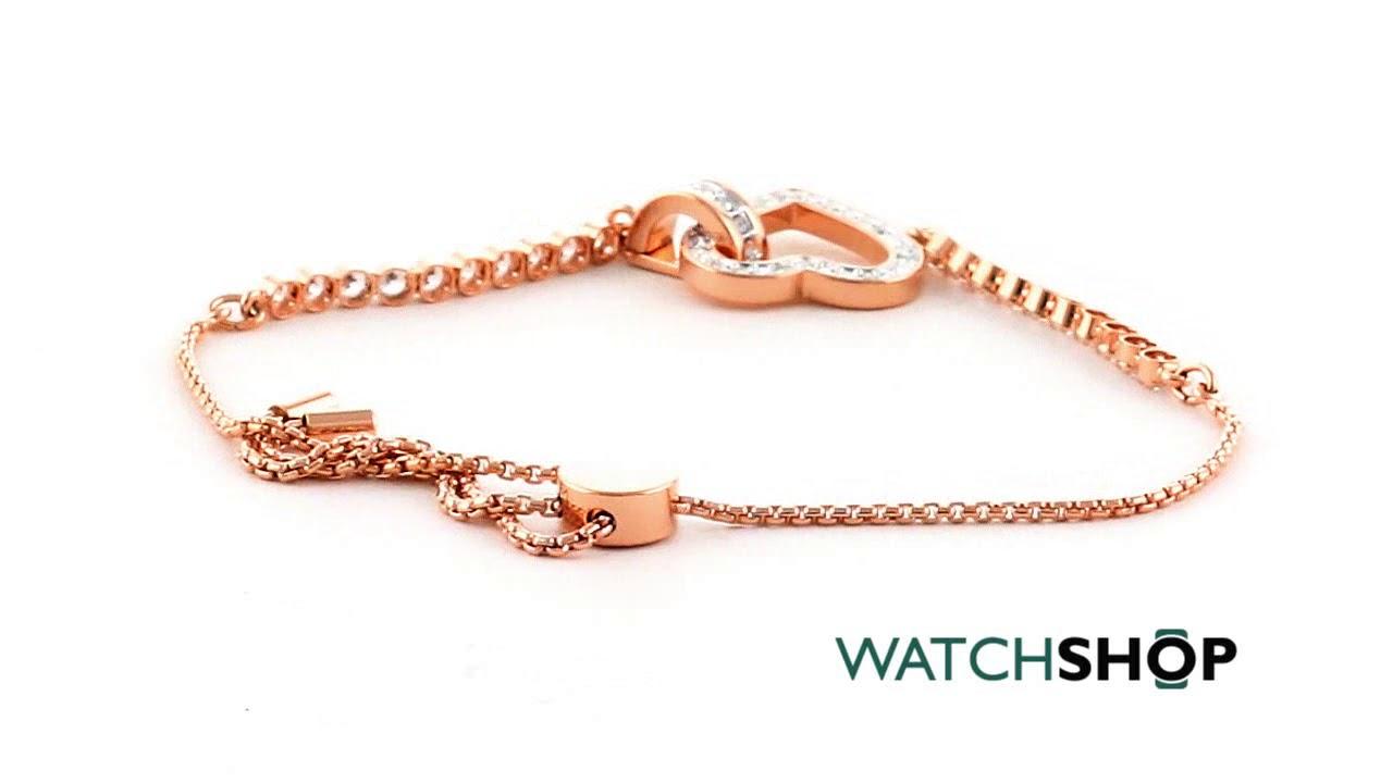 Ladies Swarovski Rose Gold Plated Lovely Heart Slider Bracelet (5368541)