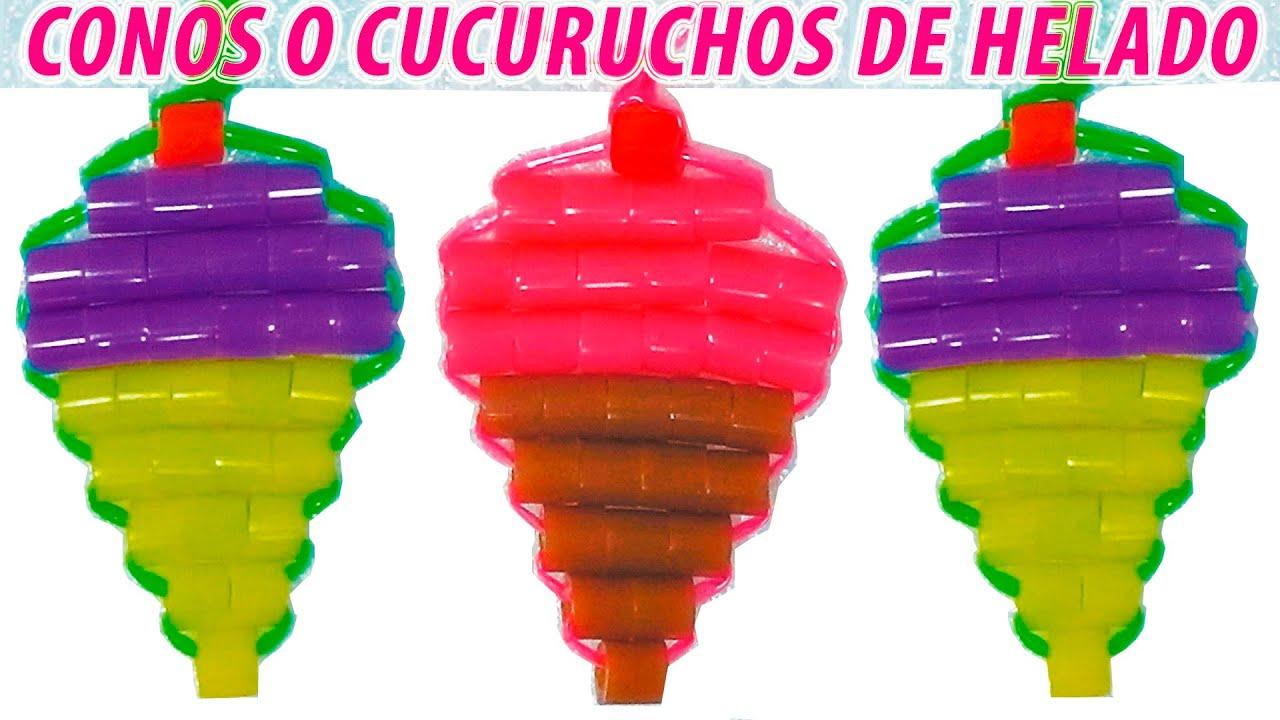 Como hacer un helado cucurucho o cono con perlas de hama beads o cuentas e hilo scoubidou youtube - Calorias de un cono de helado ...