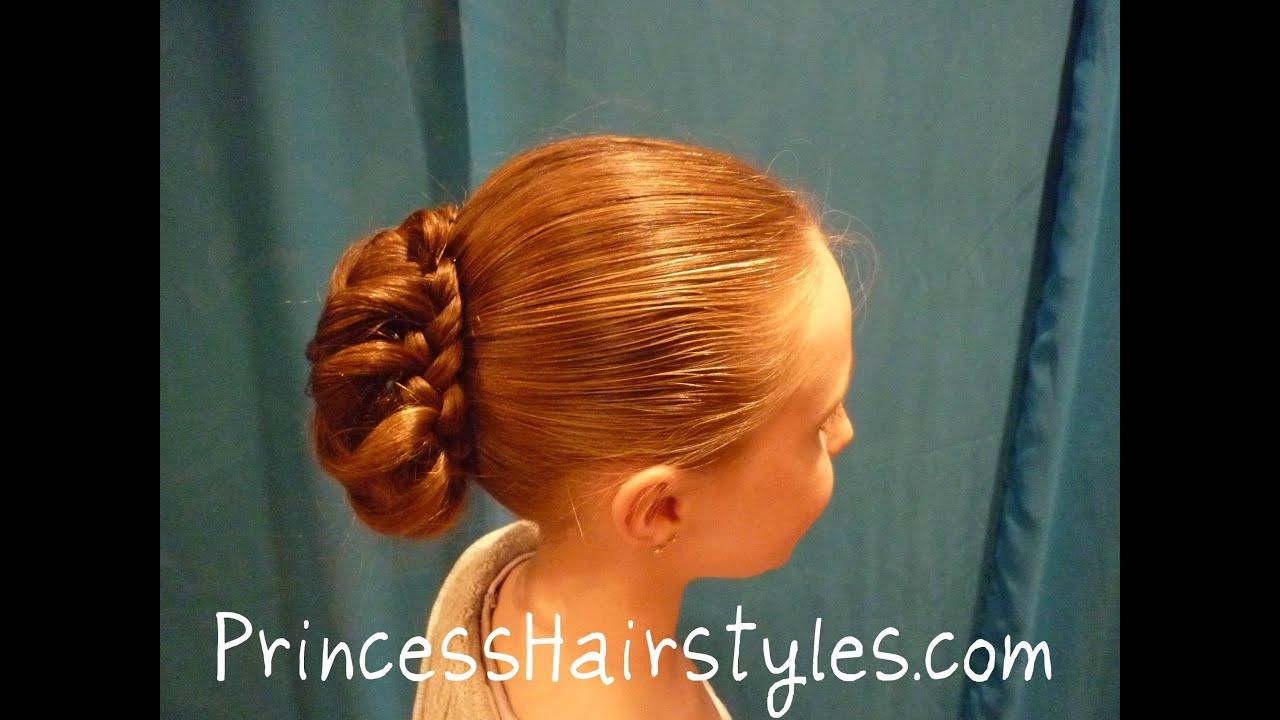 Braid Wrapped Bun Updo Chignon Hairstyles Youtube
