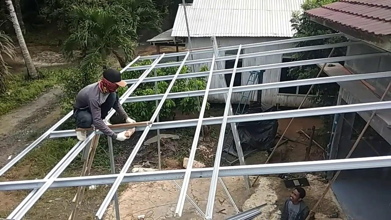 rangka atap baja ringan untuk teras tutorial pemasangan kanopi youtube