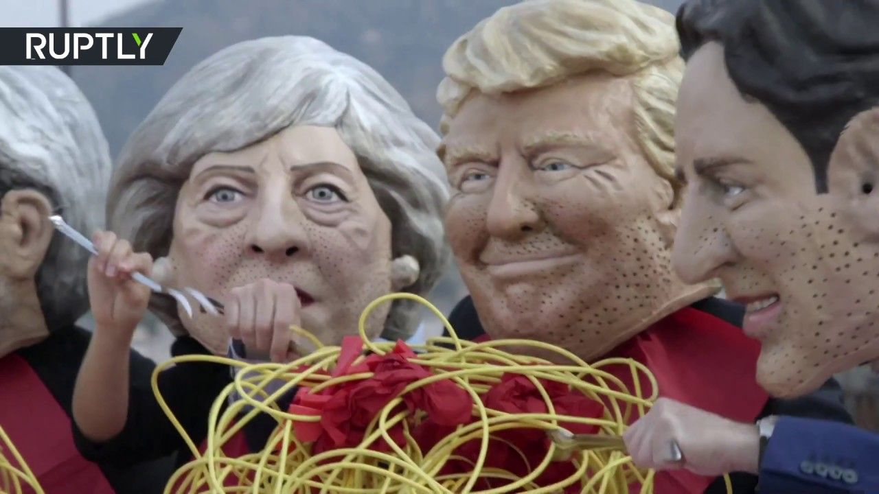 «Семёрка» и спагетти: активисты изобразили равнодушие лидеров G7 к проблеме голода