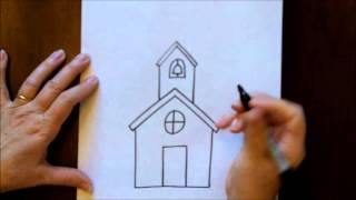draw easy drawing schoolhouse tutorial
