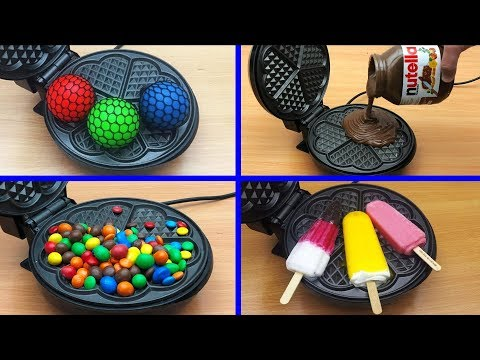 EXPERIMENT WAFFLE IRON vs NUTELLA, SKITTLES, ANTI STRESS BALLS, ICECREAM (Compilation)