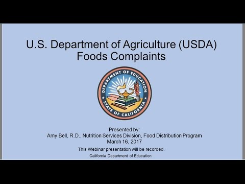 California Department Of Education Food Distribution Program: USDA Foods Complaints