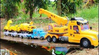 รถเครนกู้ภัยช่วยเหลือรถตกสะพาน | รถบรรทุก | รถขุดดิน | รถของเล่น