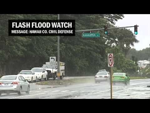 Flash Flood Watch with Hawaii County Civil Defense Message