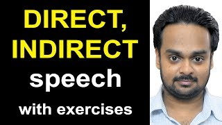Direct, Indirect Speech  Narration  - Reported Speech - English Grammar - With Exercises & Quiz