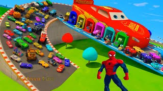 Download Mcqueen Garage Jackson Storm Monster Machines Parking With Cars 3 Disney Pixar Fabulous Hauler Truck Mp3 and Videos