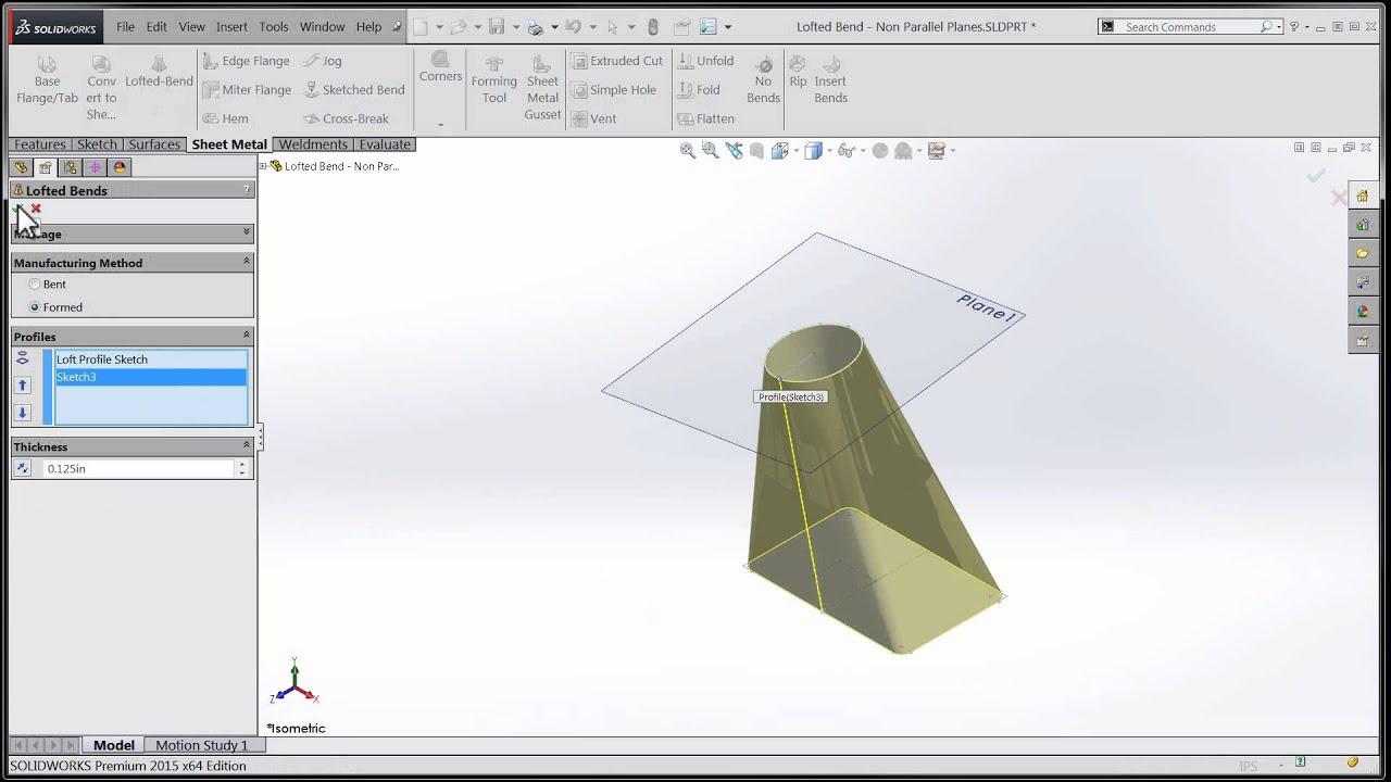 Tech Tip Solidworks 2015 Tutorial Sheetmetal Loft On