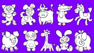 Раскраска для детей разукрашиваем животных Развивающее видео для малышей