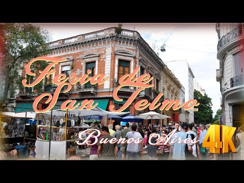 San Telmo - Buenos Aires City / Show of Arts & Antiques【4K】1ª Part