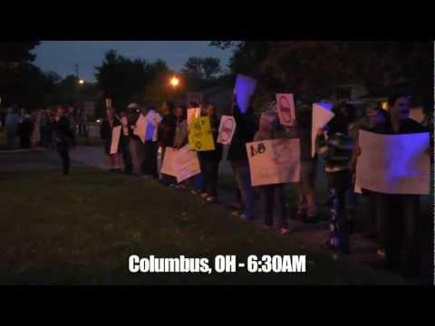 Bain Worker Bus Follows Romney/Ryan Bus in Ohio