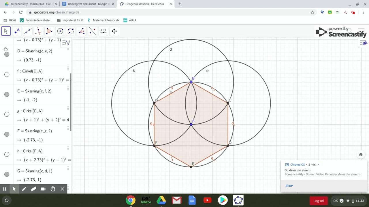 regulær sekskant ved hjælp af cirkler i geogebra