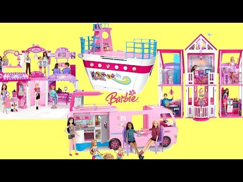 Barbie Cruise ship,Shopping Mall,Dream House and Pop Out Camper Van Toys Unboxing assembly