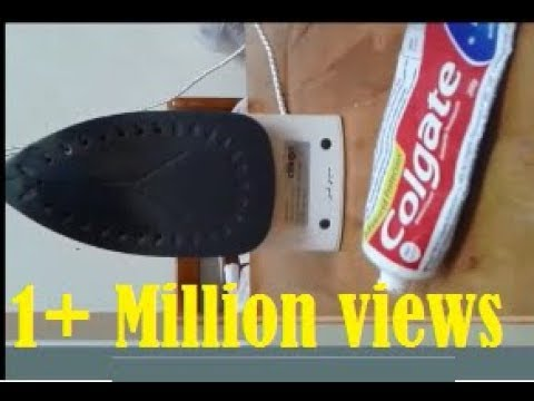 Iron box stain remover -  using Tooth paste