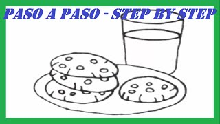 Como dibujar Galletas con Leche l How to draw Cookies with Milk