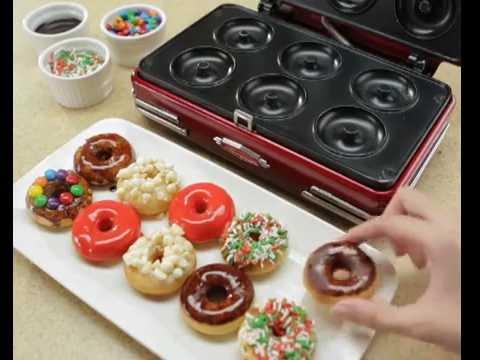 nostalgia mini doughnut maker youtube. Black Bedroom Furniture Sets. Home Design Ideas