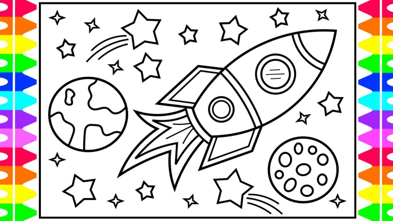 How To Draw A ROCKET SHIP For Kids ⭐️🌎🚀Rocket Ship Drawing