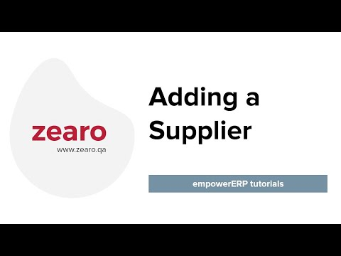 How to Add a Supplier in EmpowerERP