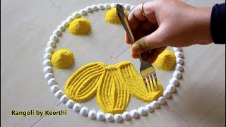 Simple rangoli design using fork & bangles l Rangoli designs for festivals l rangoli by keerthi