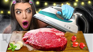 ASMR *COOKING FOOD WITH STEAM IRON* BACON, STEAK, HASHBROWNS, WAFFLES, TOASTER STRUDELS, MUKBANG 먹방