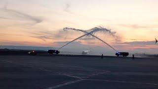 Llegada del primer vuelo que conecta Gran Canaria con Zaragoza