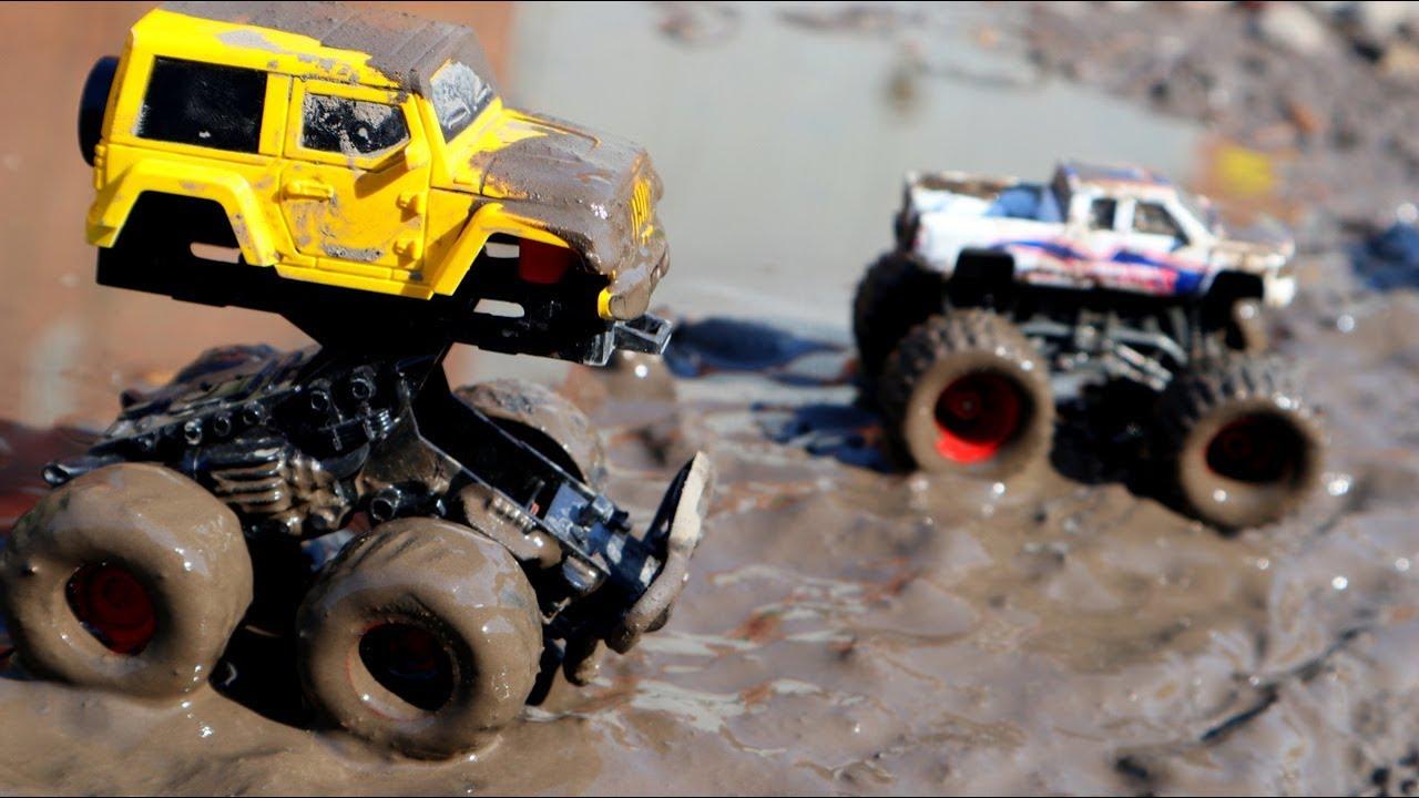 Машинки в грязи. Мойка машин. Монстер траки. Игрушечные машинки