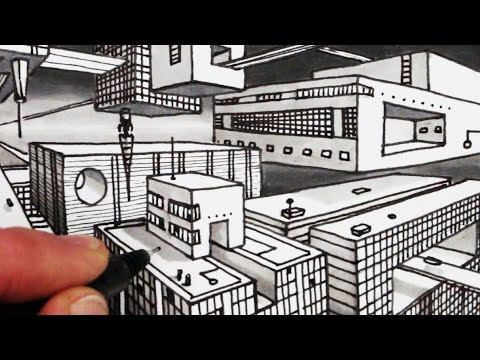 How To Draw 2 Point Perspective Sci Fi City Narrated Youtube