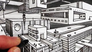 How to Draw 2-Point Perspective: Sci-Fi City: Narrated