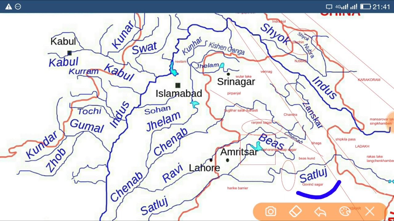 Indus River Map YouTube - World map indus river